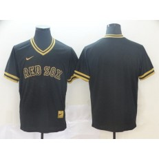 MLB Boston Red Sox Blank Black Gold Nike Cooperstown Collection Legend V Neck Jersey