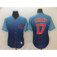 MLB Chicago Cubs 17 Kris Bryant Blue Drift Fashion Men Jersey
