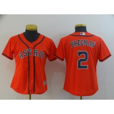 MLB Houston Astros 2 Alex Bregman Orange Women Cool Base Jersey