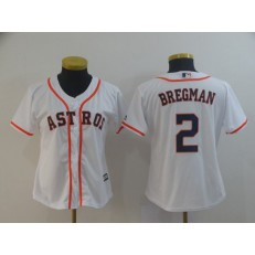 MLB Houston Astros 2 Alex Bregman White Women Cool Base Jersey