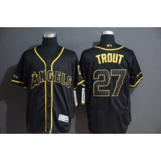 MLB Los Angeles Angels 27 Mike Trout Black Gold Flexbase Men Jersey