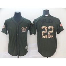 MLB Milwaukee Brewers 22 Christian Yelich Olive Camo Salute To Service Cool Base Men Jersey