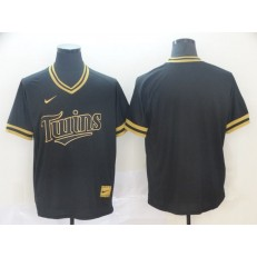 MLB Minnesota Twins Blank Black Gold Nike Cooperstown Collection Legend V Neck Men Jersey