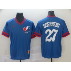 MLB Montreal Expos 27 Vladimir Guerrero Blue Throwback Men Jersey