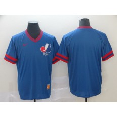 MLB Montreal Expos Blank Blue Throwback Men Jersey