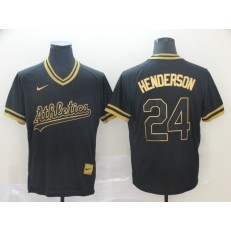 MLB Oakland Athletics 24 Rickey Henderson Black Gold Nike Cooperstown Collection Legend V Neck Men Jersey