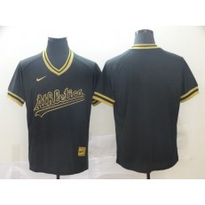 MLB Oakland Athletics Blank Black Gold Nike Cooperstown Collection Legend V Neck Men Jersey