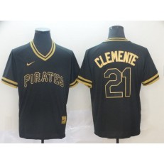 MLB Pittsburgh Pirates 21 Roberto Clemente Black Gold Nike Cooperstown Collection Legend V Neck Men Jersey