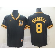 MLB Pittsburgh Pirates 8 Willie Stargell Black Throwback Men Jersey