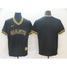 MLB San Francisco Giants Blank Black Gold Nike Cooperstown Collection Legend V Neck Men Jersey