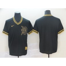 MLB Detroit Tigers Blank Black Gold Nike Cooperstown Collection Legend V Neck Jersey