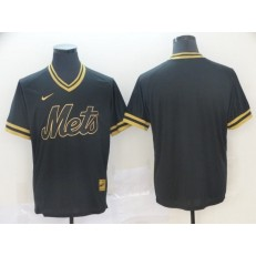 MLB New York Mets Blank Black Gold Nike Cooperstown Collection Legend V Neck Jersey
