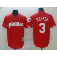 MLB Philadelphia Phillies #3 Bryce Harper Red Throwback Jersey