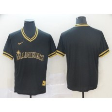 MLB Seattle Mariners Blank Black Gold Nike Cooperstown Collection Legend V Neck Jersey