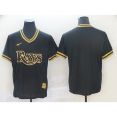 MLB Tampa Bay Rays Blank Black Gold Nike Cooperstown Collection Legend V Neck Jersey