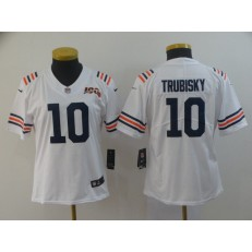 Women Nike Chicago Bears #10 Mitchell Trubisky White 2019 100th Season Alternate Classic Vapor Untouchable Limited Jersey