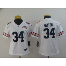 Women Nike Chicago Bears #34 Walter Payton White 2019 100th Season Alternate Classic Retired Vapor Untouchable Limited Jersey
