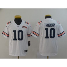 Youth Nike Chicago Bears #10 Mitchell Trubisky White 2019 100th Season Alternate Classic Vapor Untouchable Limited Jersey