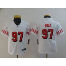 Youth Nike San Francisco 49ers #97 Nick Bosa White 2019 NFL Draft First Round Pick Color Rush Vapor Untouchable Limited Jersey
