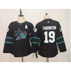 San Jose Sharks #19 Joe Thornton Black Youth Adidas DHL Jersey