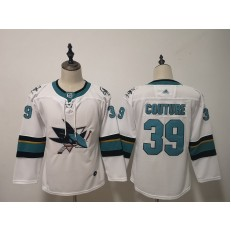 San Jose Sharks #39 Logan Couture White Youth Adidas DHL Jersey