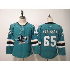 San Jose Sharks #65 Erik Karlsson Teal Youth Adidas DHL Jersey