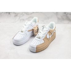 NIKE AIR FORCE 1 LOW WHITE KHAKI BROKE SWOOSH 315124-200