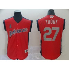 American League #27 Mike Trout Red 2019 MLB All-Star Game Workout Player Jersey