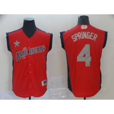 American League #4 George Springer Red 2019 MLB All Star Game Workout Player Jersey