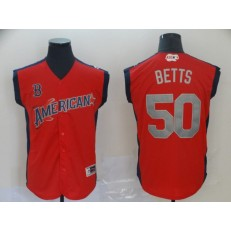 American League #50 Mookie Betts Red 2019 MLB All Star Game Workout Player Jersey