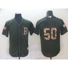 MLB Boston Red Sox #50 Mookie Betts Olive Camo Salute To Service Cool Base Men Jersey
