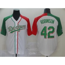 MLB Los Angeles Dodgers #42 Jackie Robinson White Mexican Heritage Culture Night Men Jersey