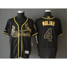 MLB St. Louis Cardinals #4 Yadier Molina Black Gold Flexbase Men Jersey