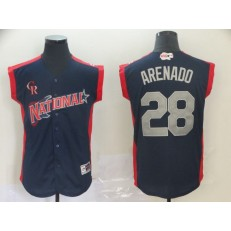 National League #28 Nolan Arenado Navy 2019 MLB All Star Game Workout Player Jersey