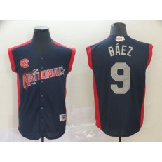National League #9 Javier Baez Navy 2019 MLB All-Star Game Workout Player Jersey