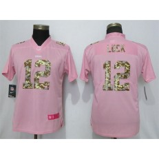 Women Nike Indianapolis Colts #12 Andrew Luck Pink Camo Fashion Limited Jersey