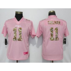 Women Nike New England Patriots #11 Julian Edelman Pink Camo Fashion Limited Jersey