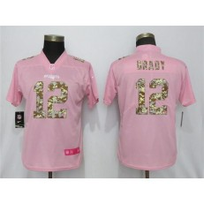 Women Nike New England Patriots #12 Tom Brady Pink Camo Fashion Limited Jersey
