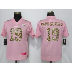 Women Nike Pittsburgh Steelers #19 JuJu Smith Schuster Pink Camo Fashion Limited Jersey