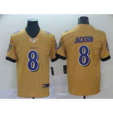 Baltimore Ravens #8 Lamar Jackson Gold Inverted Legend Limited Nike NFL Men Jersey