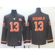 Cleveland Browns #13 Odell Beckham Jr Brown Therma Long Sleeve Nike NFL Men Jersey