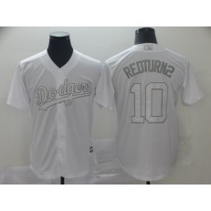 MLB Los Angeles Dodgers #10 Justin Turner RedTurn2 White 2019 Players' Weekend Player Jersey