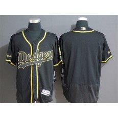 MLB Los Angeles Dodgers Blank Black Gold Flexbase Jersey