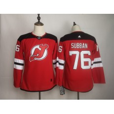 New Jersey Devils #76 P.K. Subban Red Women Adidas DHL Jersey