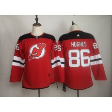 New Jersey Devils #86 Jack Hughes Red Women Adidas DHL Jersey