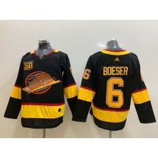 Vancouver Canucks #6 Brock Boeser Black 50th Season Adidas NHL Men Jersey