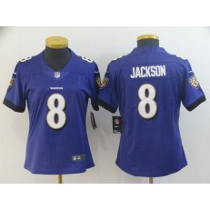 Women Nike Baltimore Ravens #8 LaMar Jackson Purple Vapor Untouchable Limited NFL Jersey