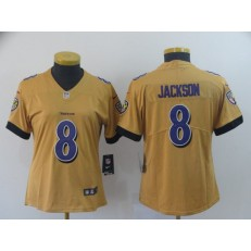 Women Nike Baltimore Ravens #8 Lamar Jackson Gold Inverted Legend Limited NFL Jersey