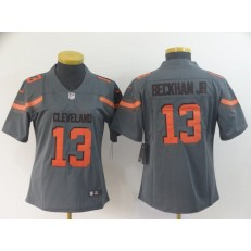 Women Nike Cleveland Browns #13 Odell Beckham Jr Gray Inverted Legend Limited NFL Jersey