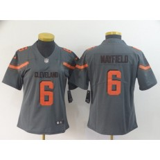 Women Nike Cleveland Browns #6 Baker Mayfield Gray Inverted Legend Limited NFL Jersey